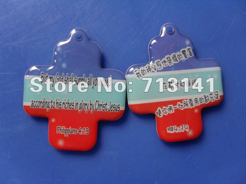 Cross-shaped Double-sided Epoxy sticker Dome Stickers, Religious Hang Tags Label Epoxy hang tag 6*4cm 500set/lot Free shipping(China (Mainland))