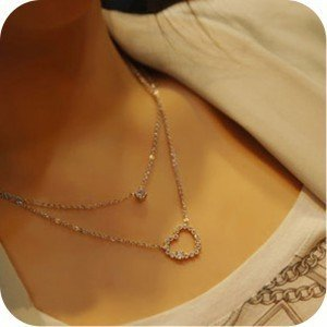 Min.order is $15(mix order)Two-double heart pendant necklace,decorated with rhinestone,Silver plated necklace chain,Free shpping