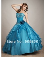 2013 Fast delivery customized  strapless embroidery organza  ball gown  blue quinceanera dresses