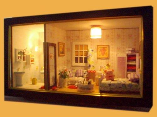 3d led light dollhouse miniatures romantic full house large frame