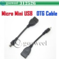 High quality Micro mini USB OTG cable forSanei N10,N90,N83,N77/Aoson M11/CUBE U30Gt... tablet pc Freeshipping+DropShipping(China (Mainland))
