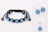 Wholesale Shambala 10mm blue  9pcs Disco Ball Bead bracelet&earrings&necklace set free shipping,fashion Shamballa Jewelry set