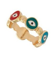 New Arrival!  Wholesale vintage colorful evil eye fingher ring, vintage, retro, antique jewelry