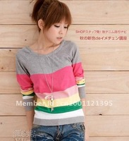 Free Shipping Hot sale Lady's Fashion sweater/ color strap sweater/women's sweater 4 color 10/lot