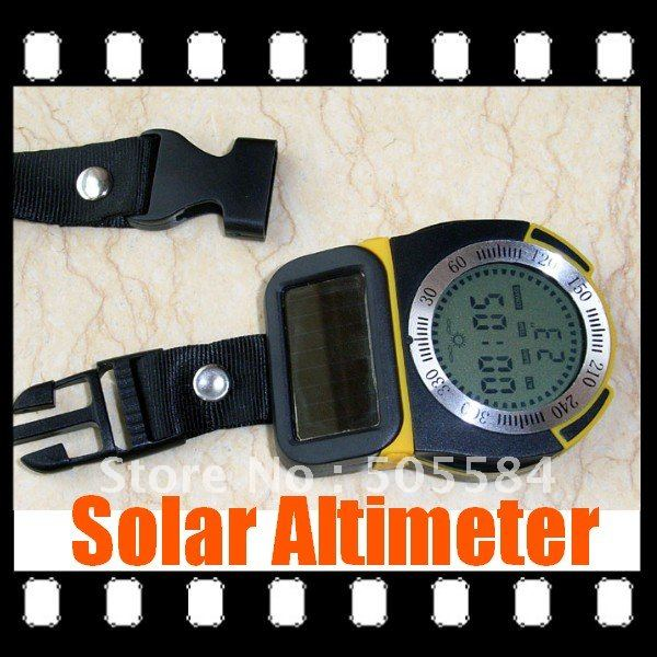 Outdoor Solar Power 6in1 Multifunctional Digital Altimeter Barometer Thermometer Compass(China (Mainland))