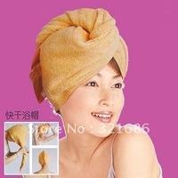 20pcs/lot 60*22CM 4 colors Magic Microfiber Hair Drying Towel Absorbent Quick Dry Bath hair hat cap