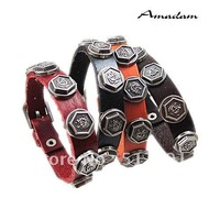 SL329/leather bracelet,high quality men  gothic metal cowhide bracelet,fashion jewelry,100% genuine leather,handmade jewelry