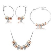 Free Shipping 18KGP Crystal Necklace Jewelry Sets Earrings /Necklace/Bracelet,Nickel free, Anti-allergy,factory price  HSJS4068