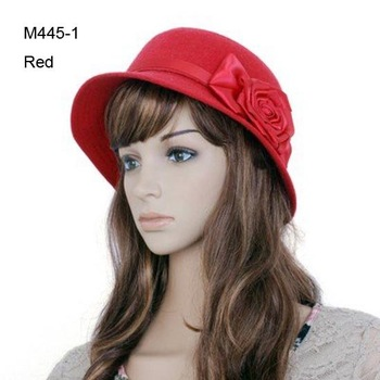 Fashion Designer Sweet Flower Women Cloches Pretty Ladies Bucket Hats Classic Lady Elegant Formal Cloche Hats Red Brown Black