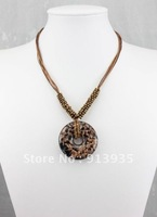 European hot sale gold dust murano lampwork round glass pendant necklace jewelry, Free Shipping
