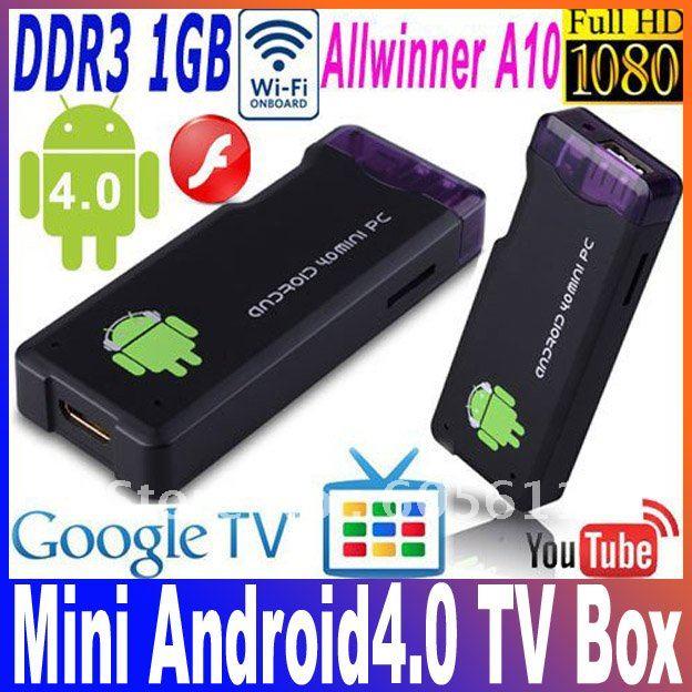 White&Black IPTV MK802 Allwinner A10 Android 4.0 RAM 1GB ROM 4GB 1.5GHz PC Mini TV Box Smart Android Box Free shipping(China (Mainland))