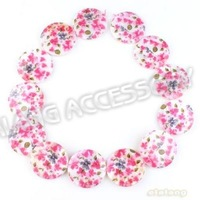 Free Shipping 3Strings/lot Fashion Pink Flower White Oblate Shell Beads Charms Loose Shell Beads Fit Nacklace Findings 111873