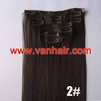 22inches 7PCS Clip in Synthetic Hair Extensions 90g/set #02-dark brown,Straight