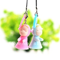 Lovely Sweet Sleep Walking Baby Couple Lovers Mobil Phone  Chain, Strap,fashion accessory, Pendant, 10pairs/lot FREE SHIPPING.