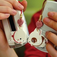 Lovely Sweet Rabbit Couple Lovers Mobil Phone  Chain, Strap,fashion accessory, Pendant, 10pairs/lot FREE SHIPPING.