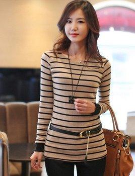 2015 New Blusas Femininas Women Casual O-Neck T Shirt Striped Long Sleeve Tops Tees T-shirts for women blouses
