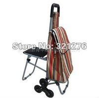 Supply NEW METAL FRAME SHOPPING CART WITH SEAT & FABRIC BAG free shipping Shopping Trolley plus Hand Moving Cart