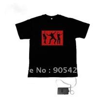 dancing logo  red  equalizer led t-shirt