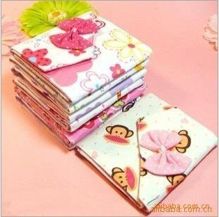 Free Shipping Wholesale Printed Flower Cotton Bag, Pads Cover, Case, Bow Sanitary Napkin Pouch with opp
