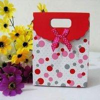 48pcs/lot dot paper bag Gift Paper Bag favor bag with bow and velcro 13*6*17cm