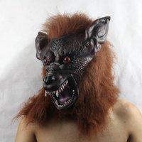 FREE SHIPPING!!!Halloween high-grade mask, bar party adornment, brown high-grade latex wolf head mask
