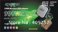 Free Shipping kasens 990WG new Launch 60DBI panel Antenna 150M wireless USB adapter 6000MW usb wifi