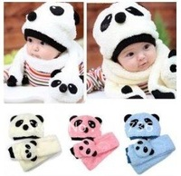 Free shiping Special Offers! hot children hat 100% wool hat+scarf two piece set Panda cap children animal cap Warm winter Gift