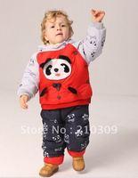 free shipping 3pcs/lot 3colors 3sizes Baby winter suit +pant panda clothing boy fur clothing suit winter clothing set kids suit