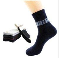 Min Order $10(mixed order) Retail Men's mesh rhombic lattice in autumn and winter  socks thickening of rabbit wool socks