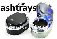 Free shipping Car Dashboard quality portable cigarette ashtray non-flammable LED lights LED car ashtray black /silver