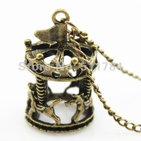 Free Shipping 38*22mm Vintage 3D Hollow Carousel Necklace (N30033)