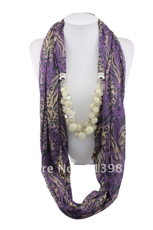 1pc Retail cotton pashmina shawl pearl pendant Necklace Girl's scarf shawl wrap Free shipping SC014(China (Mainland))