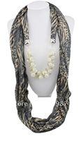 1pc Retail Flower cotton pashmina shawl pearl pendant  Necklace Girl's scarf  shawl wrap Free shipping SC016