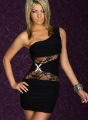 Glorious Sexy One-shoulder Sleeveless Lace Inserts X Rhinestone Buckle Bodycon Party Mini Dress Black, White V25DR65L