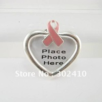 PRB029, Silver Plated Enamel Alloy Photo Frame Design Brooch PinsBreast Cancer Pink Ribbon Pins