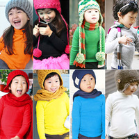 free shipping autumn and winter candy color boys and girls clothing turtleneck long-sleeve T-shirt baby basic shirt
