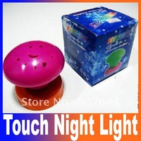 latest new arrival 7 colors press down mushroom clap touch night light led lamp projecting mini projector Free Shipping