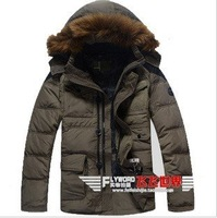 Free Shipping Fur Collar Man's  Down Coat Winter Warm Down Jacket For Men Outwear Down 90% S-XXXL JK-075