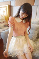 Hot sale sweet princess pearl peter pan collar chiffon shirt, dot women blouses,shirts clothing,Free shipping