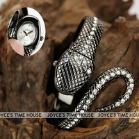 Free shipping,Dramatic Vogue Black Snake Alloy Bracelet Crystal Lady Ball Dress Wrist Watch+Box,Q0256