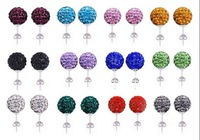 Free shipping  Crystal Disco Ball  Shamballa Earrings Studs 48pcs=24pairs/lot Mix color