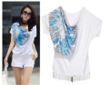 free shipping new fashion Women&#39;s Fashion printing short sleeve t-shirts with belt  moq 1pc