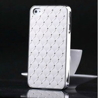 Bling Bling Diamond Rhinestone Case Cover for iPhone 4 4S, Matte Chrome Hard Case EMS/DHL Free Shipping Come with Retail Packing