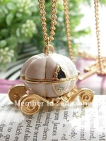 Min.order 15$ mix Pretty retro gold stereoscopic withe glaze can open Pumpkin car Carriage pendant necklace vintage