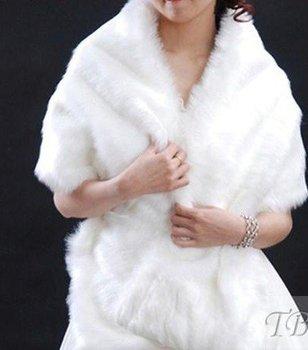 wholesale  White Long Faux Fur    Wedding Shawl / Jacket