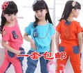 2013 summer autumn girls clothing child sports set denim patchwork buck casual set more options freeshipping in stock