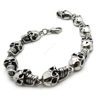 Men's Gothic Links Silver Charm Skull Bracelet Stainless Steel Bangle Fashion Jewelry PUNK New Gift