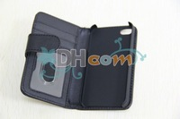 wallet book case for iphone 4S with credit card holder, leather case for iphone 4S  30pcs/lot ship by DHL