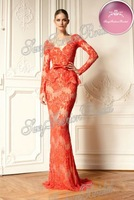 2013 Hot Sell V-neck Accented Long Sleeve Lace Mermaid Floor length Zuhair Murad Dress Evening Dresses