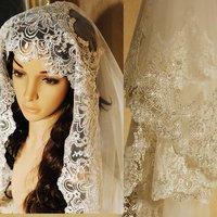 Luxury bridal veil silveryarn embroidery paillette lace veil 2.8 meters - 3.5 meters 5 meters veil k99
